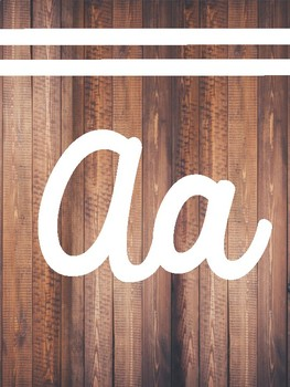 Cursive Alphabet Wood Background