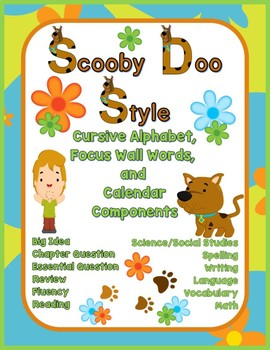 Cursive Alphabet and Focus Wall Set Scooby Doo Style