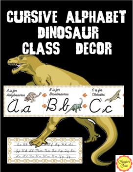 Cursive Alphabet for Dinosaur Class Decor: In 2 Sizes