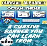 Cursive Alphabet for Ocean Theme Class Decor in 2 Sizes