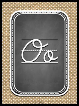 Cursive Alphabet on burlap and chalkboard background