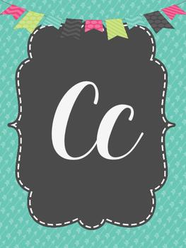 Cursive Alphabet-teal and grey