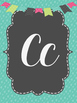 Cursive Alphabet-teal and grey