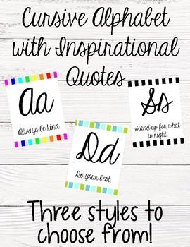 Cursive Alphabet with Quotes