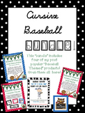 Cursive Baseball Bundle! *Desk, Wall, Calendar, & Reading Log!*