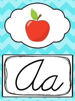 Cursive Blue, Green, Pink, Orange Alphabet Posters. Preschool-3rd Grade