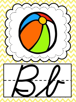 Cursive Bright Chevron Alphabet Posters