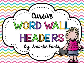 Cursive Bright Chevron Word Wall Headers