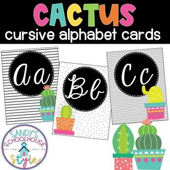 Cursive Cactus Alphabet Cards- Classroom Decor