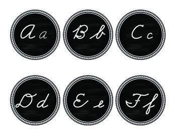 Cursive Chalkboard Word Wall Headers Black and White