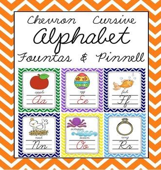 Cursive Chevron Alphabet Letter Sound Set (Fountas & Pinnell aligned)
