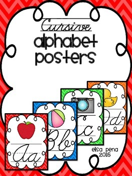 Cursive Chevron Alphabet Posters with Line