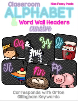 Cursive Classroom Alphabet and Word Wall Headers - Orton G