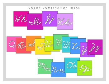 Cursive Colorful Classroom Alphabet Line - Choose Your Own Colors