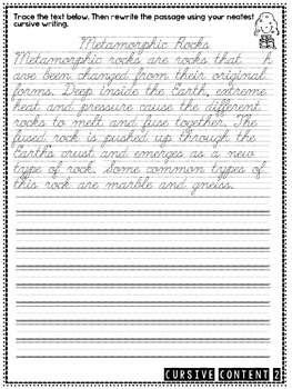 cursive content science cursive practice passages by teachesthirdingeorgia. Black Bedroom Furniture Sets. Home Design Ideas