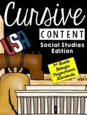 Cursive Content-Social Studies Passages Cursive Practice