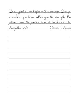 20 Famous Quotes about Following Your Passions Cursive Copy Work Handwriting