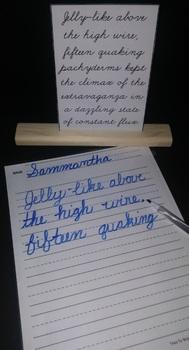 Cursive: Copy the Sentence Flash Cards (Pangrams - Dry Erase)