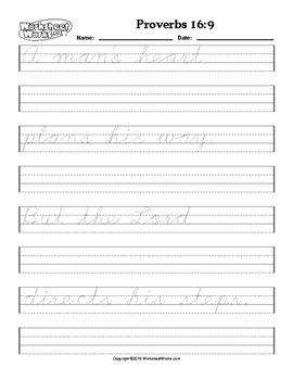 Cursive Copy work Handwriting Practice Proverbs 16:9 NJKV