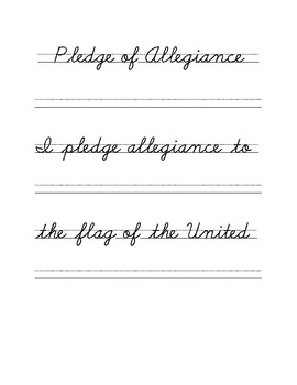 Cursive Copywork Pledge of Allegiance