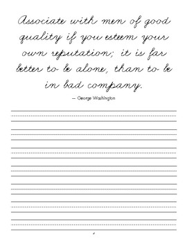 Cursive Copywork - President Quotes and Scriptures