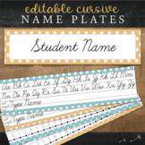 Cursive Desk Name Plates : Editable Desk Strips