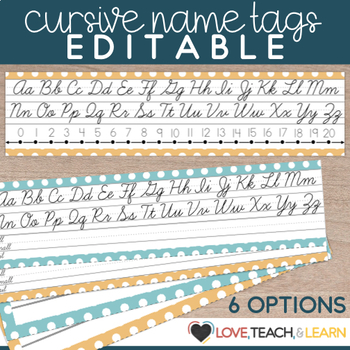 Cursive Desk Name Plates : Editable Desk Strips
