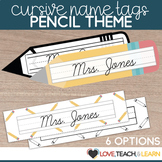 Cursive Desk Name Plates : Pencil Theme (Editable)
