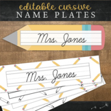 Cursive Desk Name Plates : Pencil Theme (Editable)