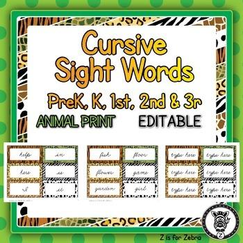 Cursive Dolch Sight Words - Editable