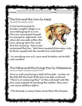 Cursive ELA-Aesop Fables The Doe and the Lion. Common Core!