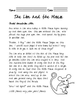 image regarding The Lion and the Mouse Story Printable called Cursive Aesop Fable. The Lion and the Mouse.