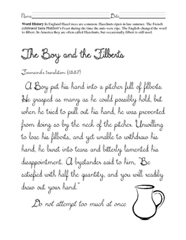 Cursive ELA-Aesop Fables The boy and the Filberts. Common Core!