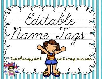 Cursive Editable Name Tags- Teal and White Stripes