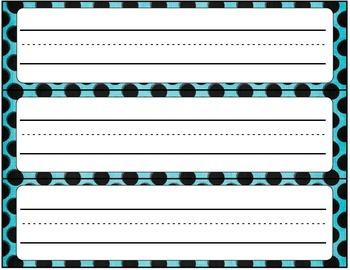 Cursive Editable Name Tags- Black with Blue Dots