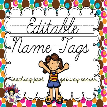 Cursive Editable Name Tags- Brown, Pink, Orange Multi Dots