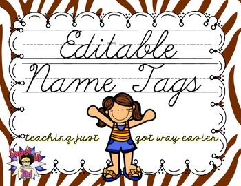 Cursive Editable Name Tags- Brown Zebra