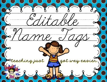 Cursive Editable Name Tags- Brown with Blue Dots