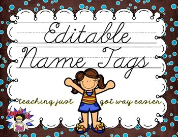 Cursive Editable Name Tags- Brown with Blue Tiny Dots