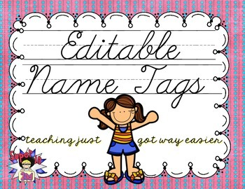 Cursive Editable Name Tags- Pink with Blue Dots