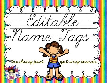 Cursive Editable Name Tags- Rainbow