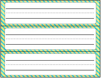 Cursive Editable Name Tags- Teal and Yellow Stripes