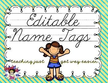 Cursive Editable Name Tags- Teal and Yellow Stripes