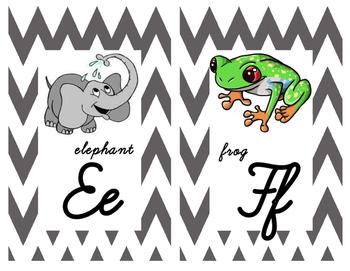 Cursive Gray Chevron Themed Alphabet Posters