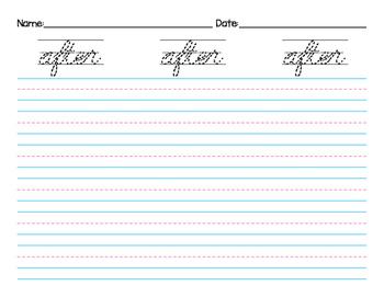 Cursive Handwriting 1st Grade Dolch Sight Words