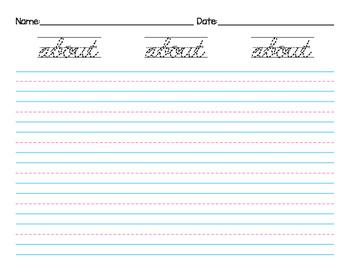 Cursive Handwriting 3rd Grade Dolch Sight Words