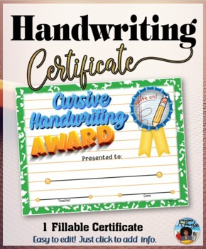 Cursive Handwriting Certificate - Editable
