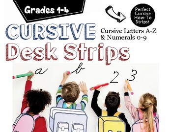 Cursive Handwriting Desk Strips: Letters A-Z and Numerals 0-9