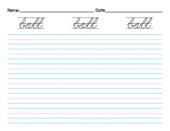 Cursive Handwriting Noun Dolch Sight Words