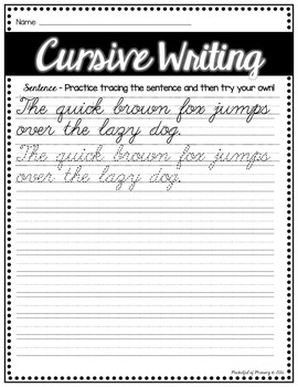 cursive handwriting practice pages by pocketful of primary tpt. Black Bedroom Furniture Sets. Home Design Ideas